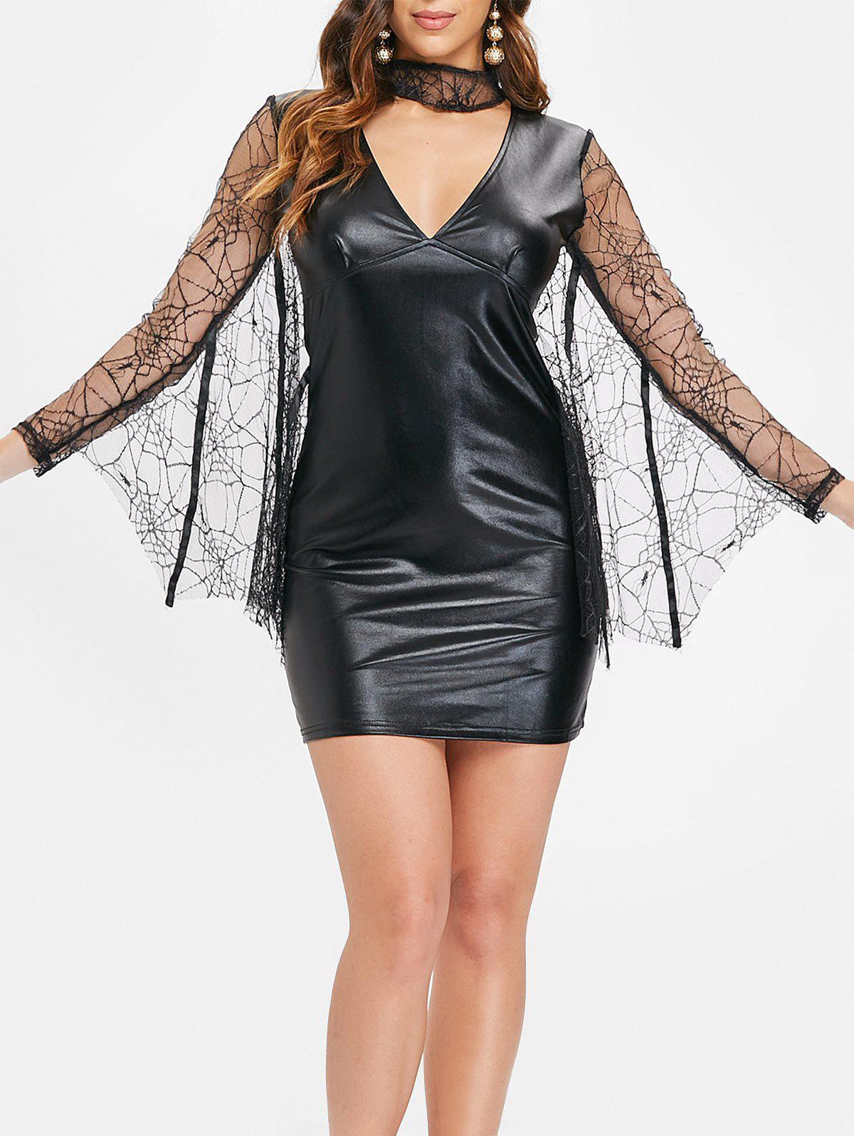 Sale Lace Batwing Short Faux Leather Dress