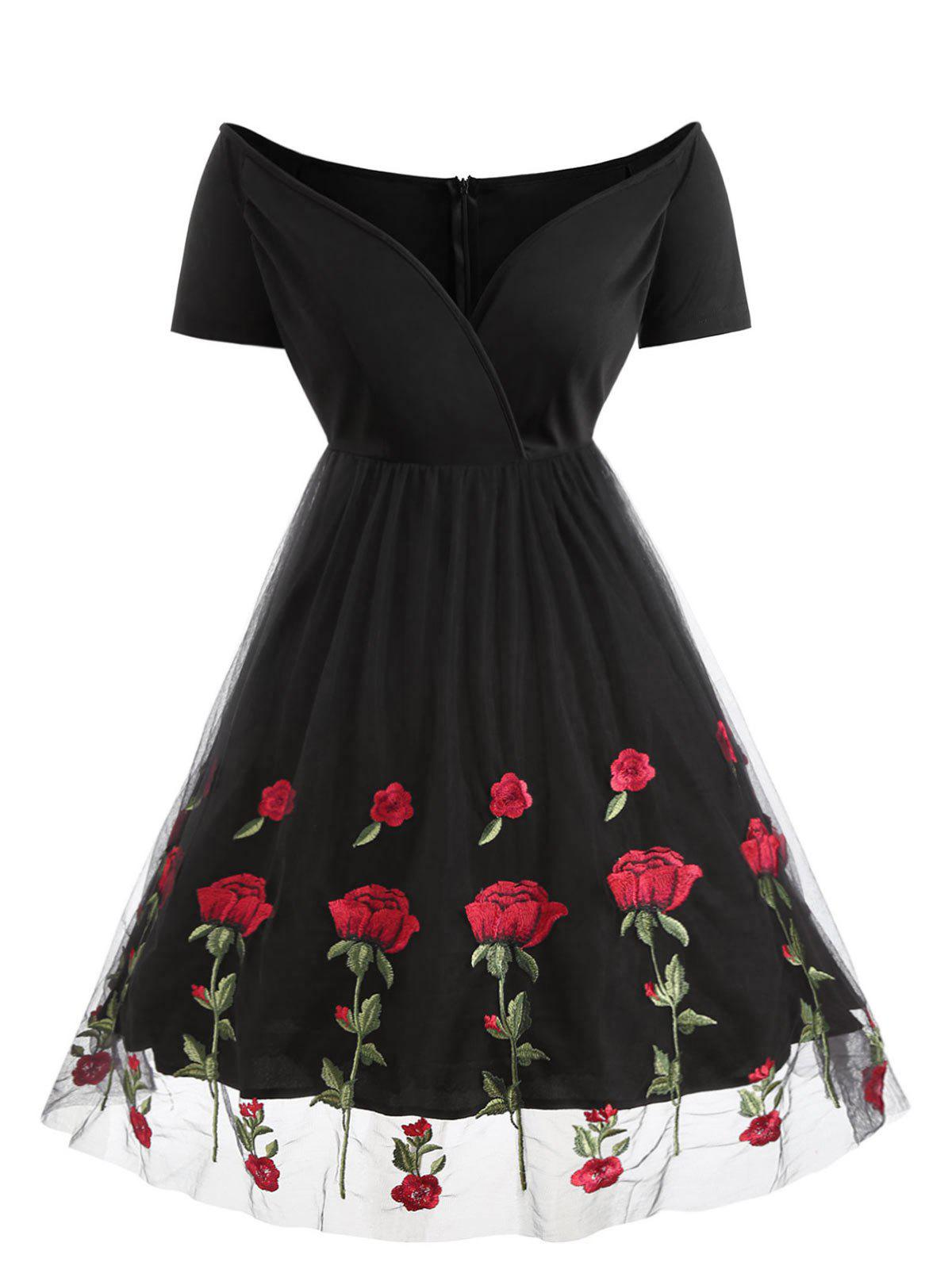 Fashion Plus Size Off Shoulder Vintage Surplice Dress with Embroidered