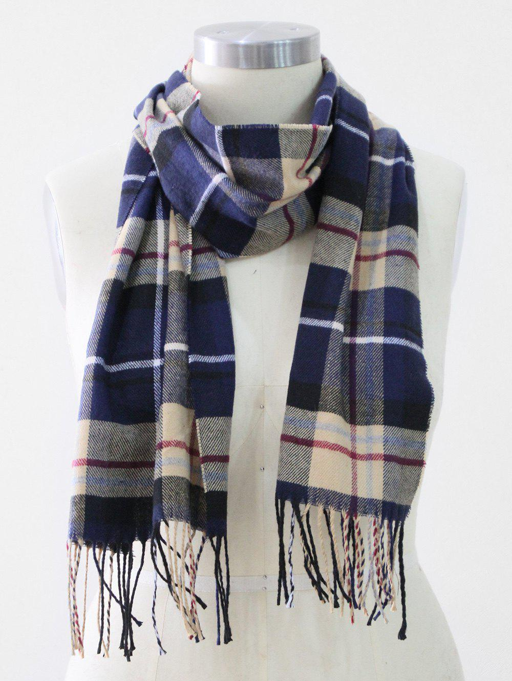 Fancy Tassel Edge Checked Pattern Thick Scarf