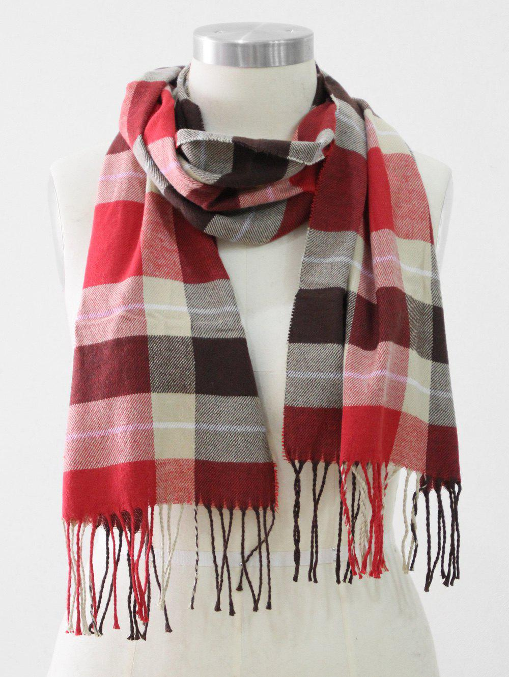 Discount Tassel Edge Checked Pattern Thick Scarf