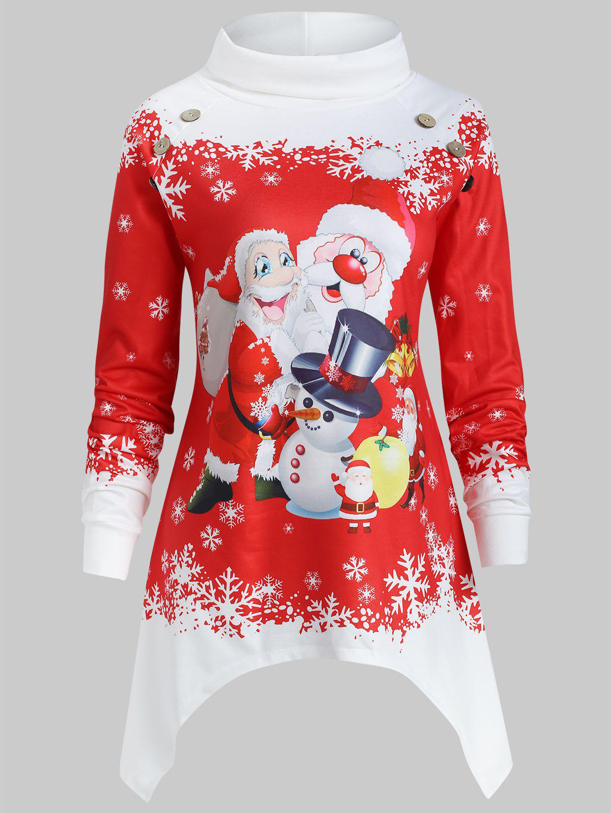 Shop Asymmetrical Plus Size Christmas Santa Claus Print Sweatshirt