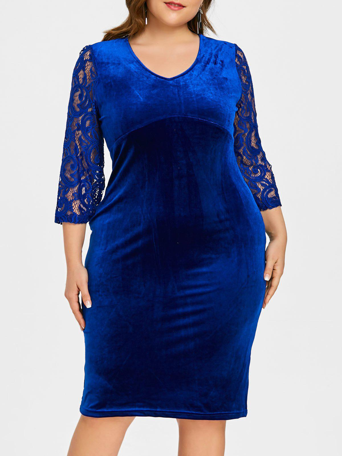 Hot V Neck Plus Size Knee Length Velvet Dress