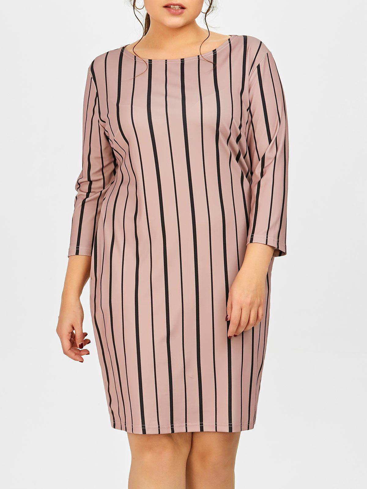New Plus Size Vertical Striped Dress