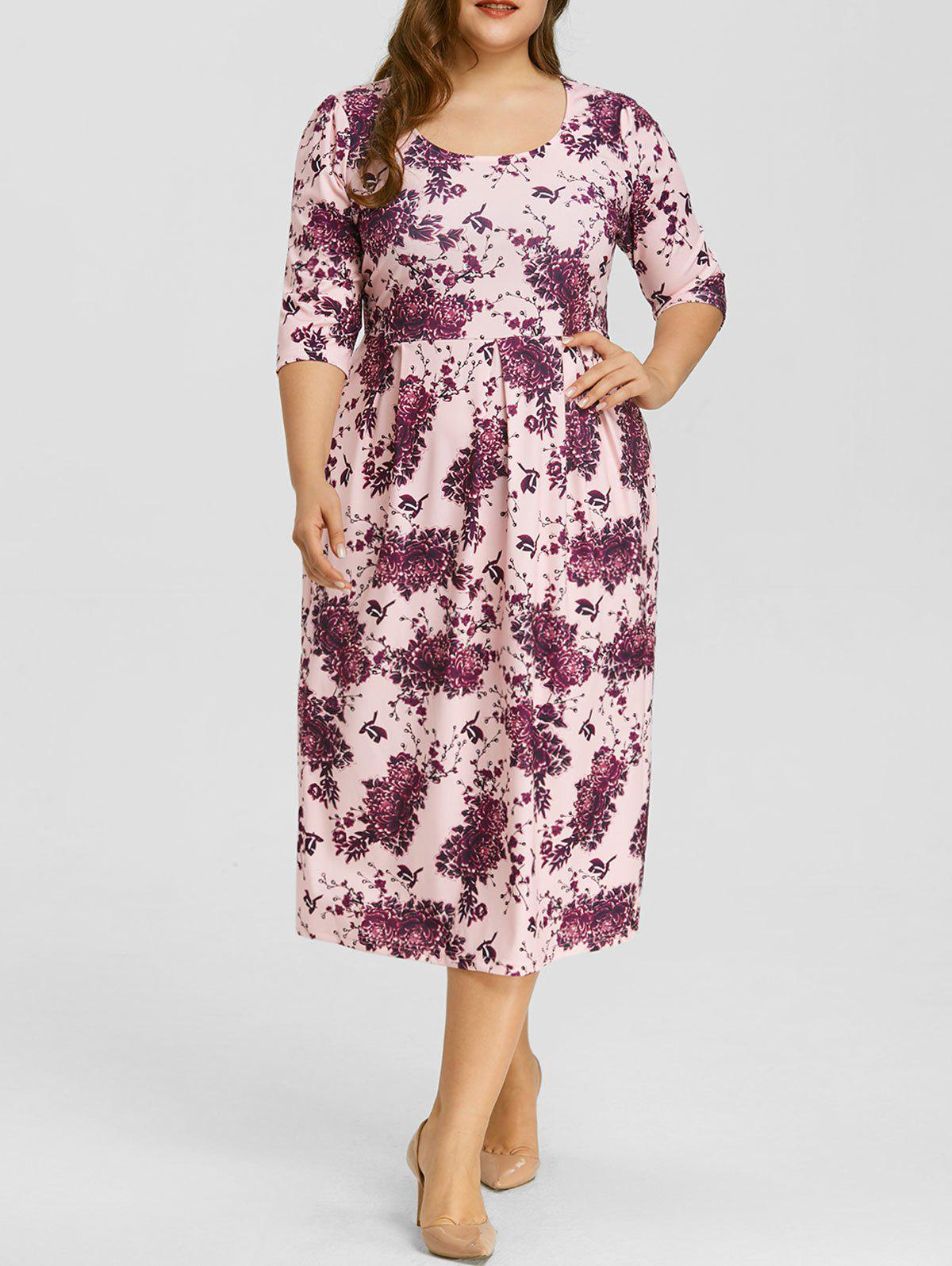 Fancy Floral Print Plus Size Midi Dress