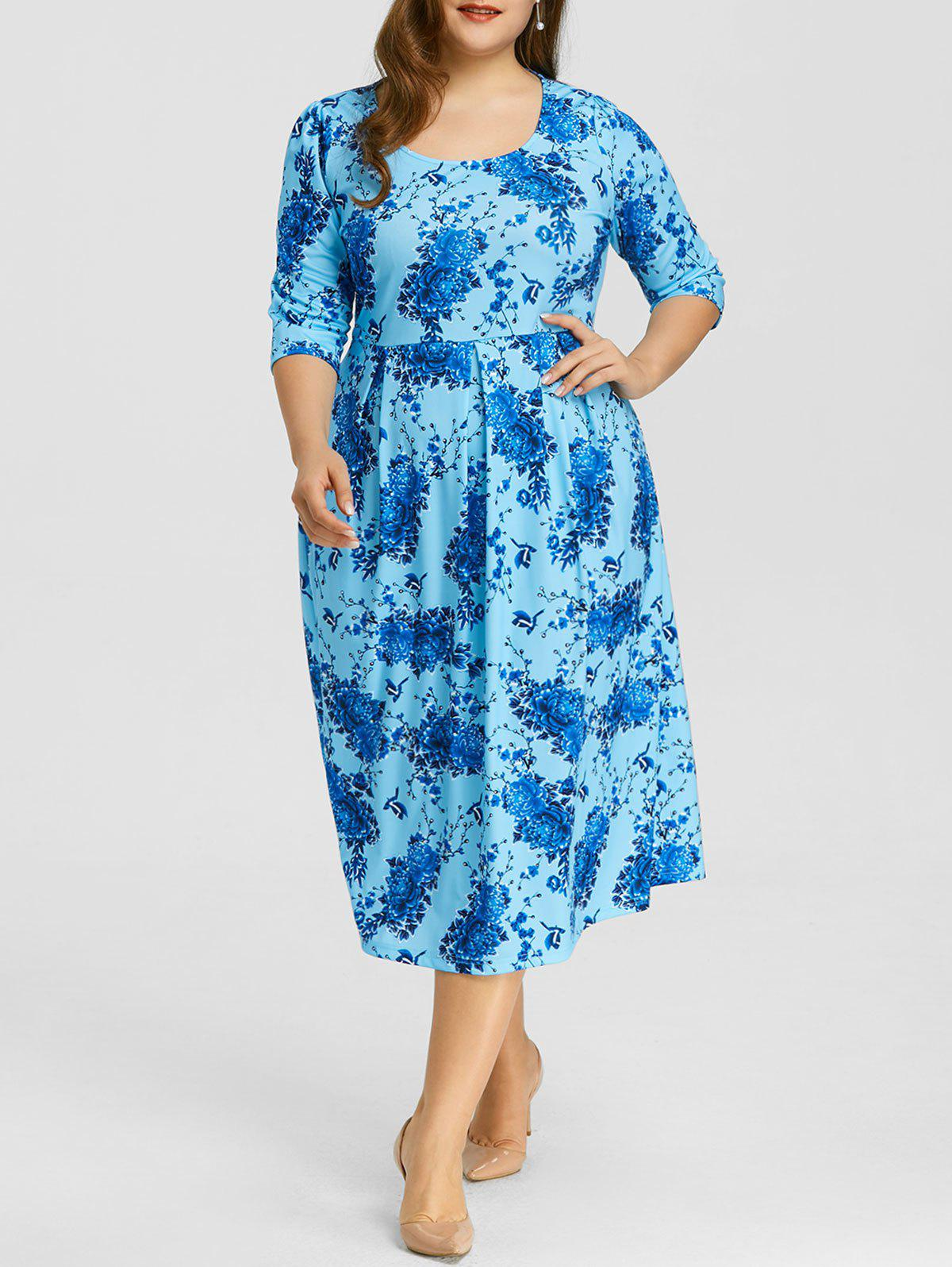 Sale Floral Print Plus Size Midi Dress