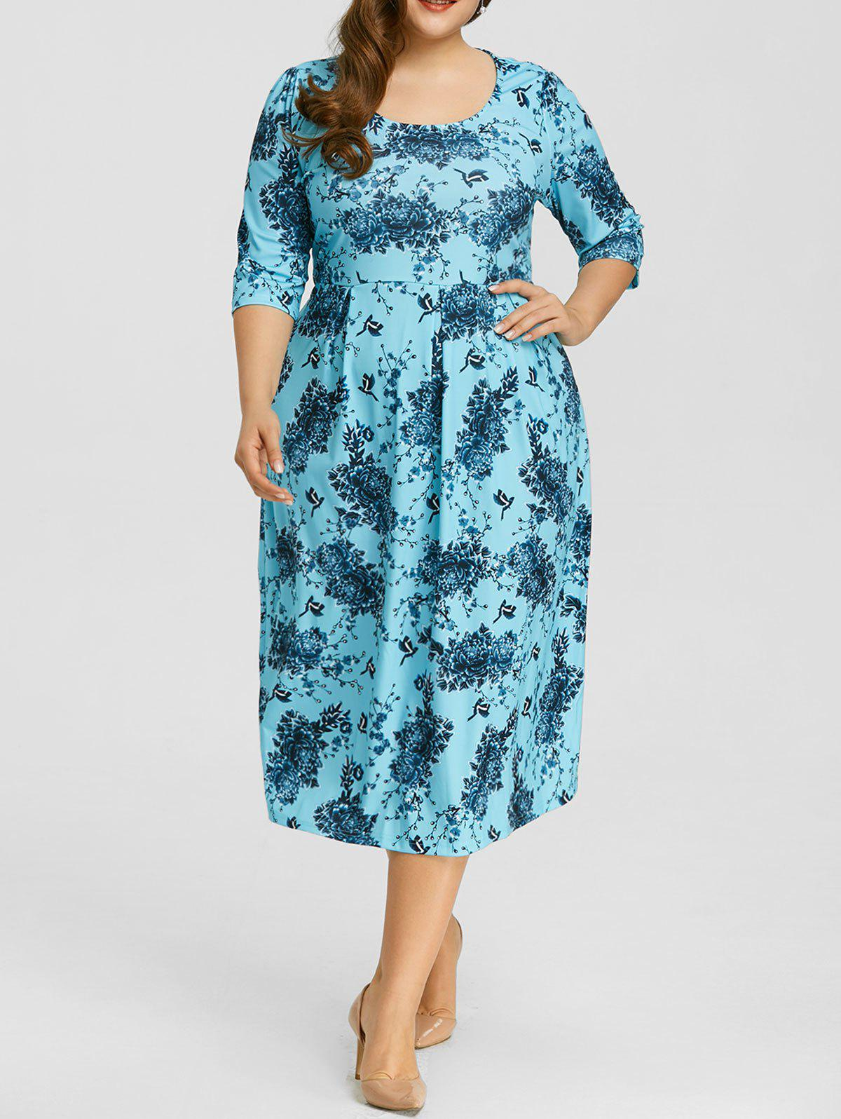 Hot Floral Print Plus Size Midi Dress