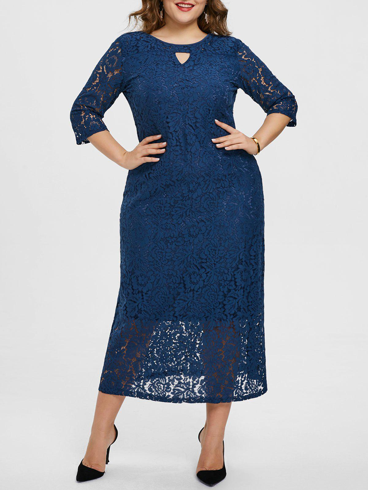 Store Plus Size Keyhole Floral Lace Dress