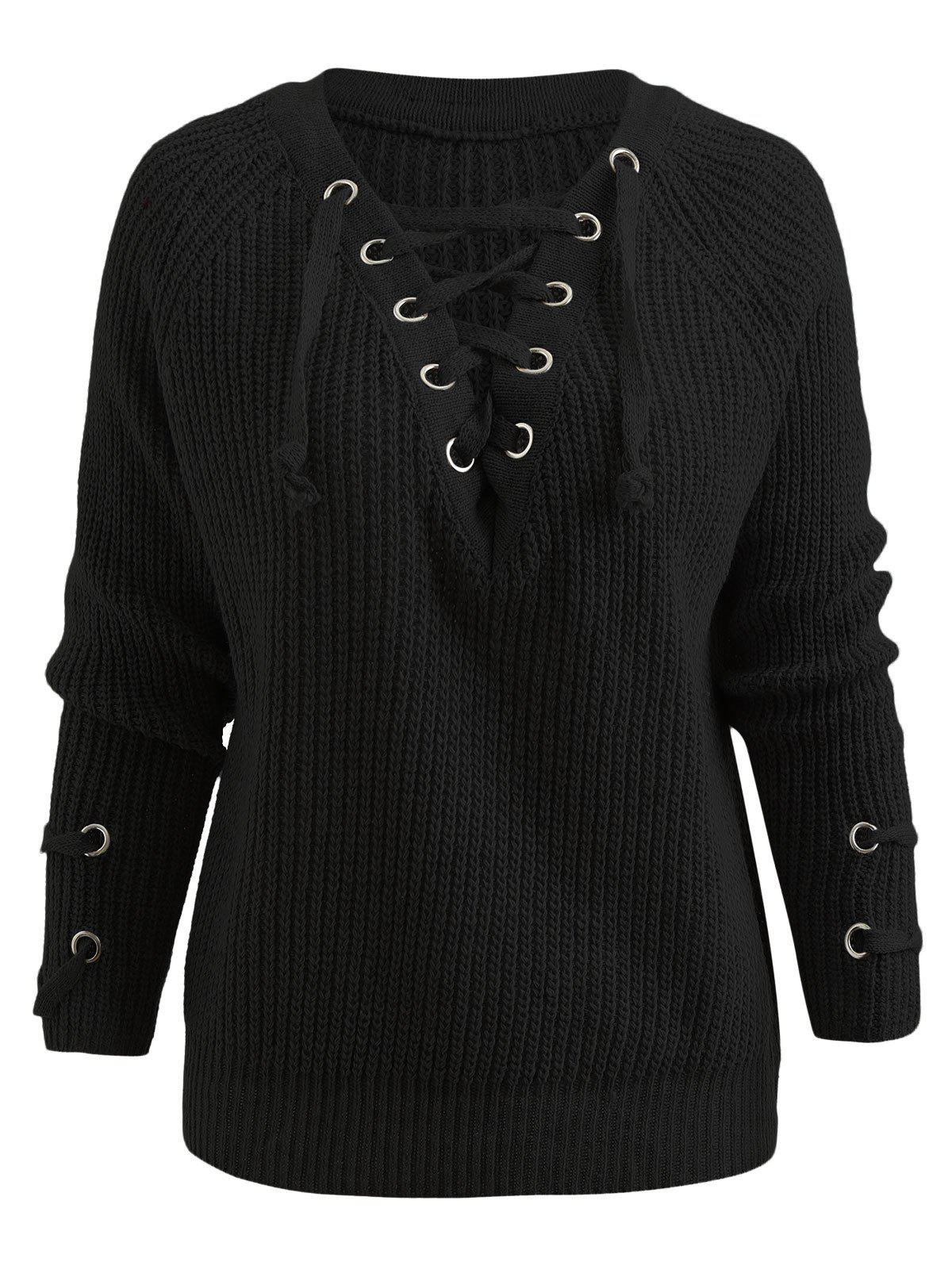 2ba2c7e52c Raglan Sleeve Lace Up Chunky Sweater - One Size
