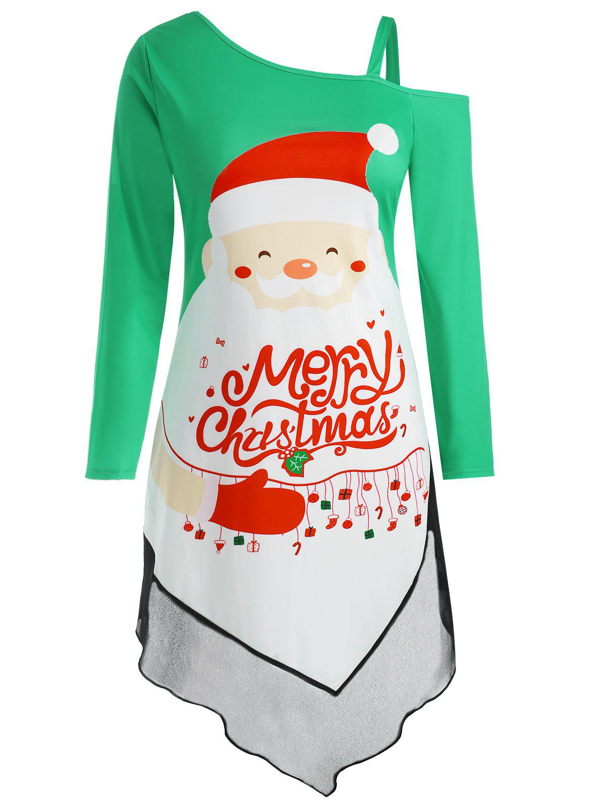 Affordable Plus Size Asymmetric Panel Christmas Graphic Dress