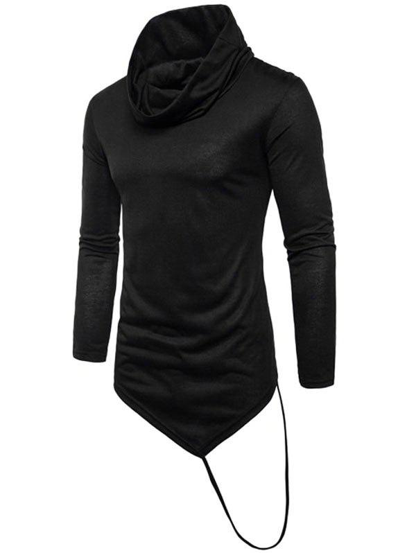 Latest Solid Irregular Hem With A Stripe Cowl Neck T-shirt