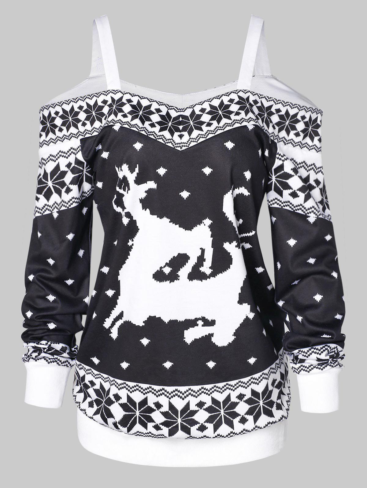 Trendy Snowflake Pattern Print Cold Shoulder Christmas T-shirt