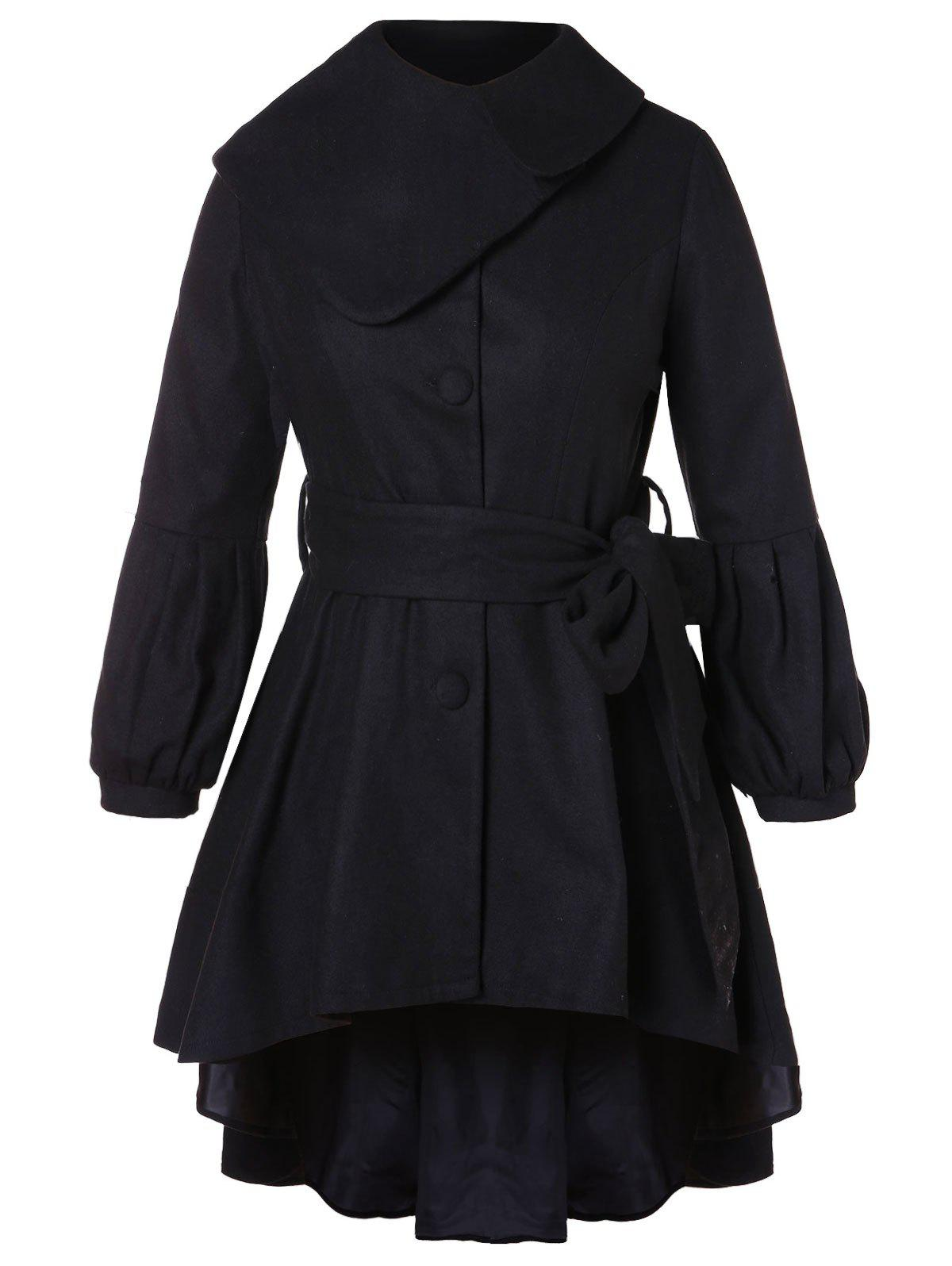 Chic Button Embellished Plus Size High Low Coat