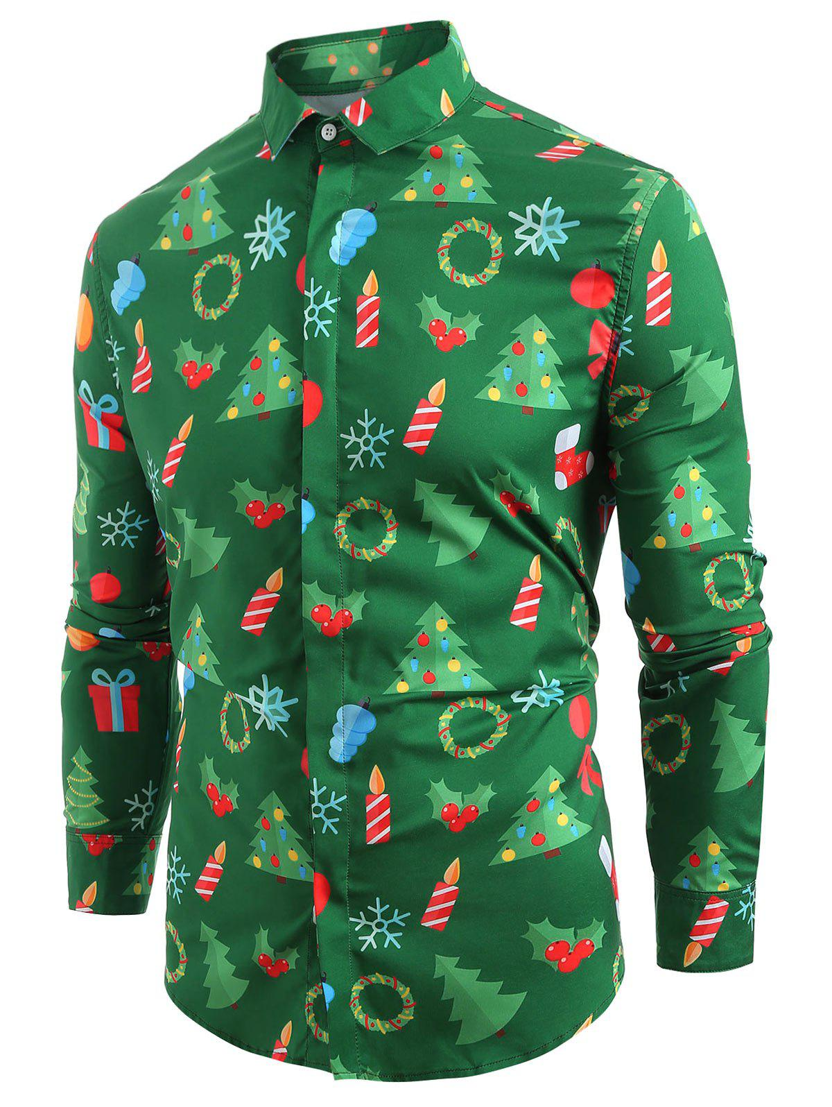 Unique Christmas Elements Print Hem Curved Long Sleeve Shirt