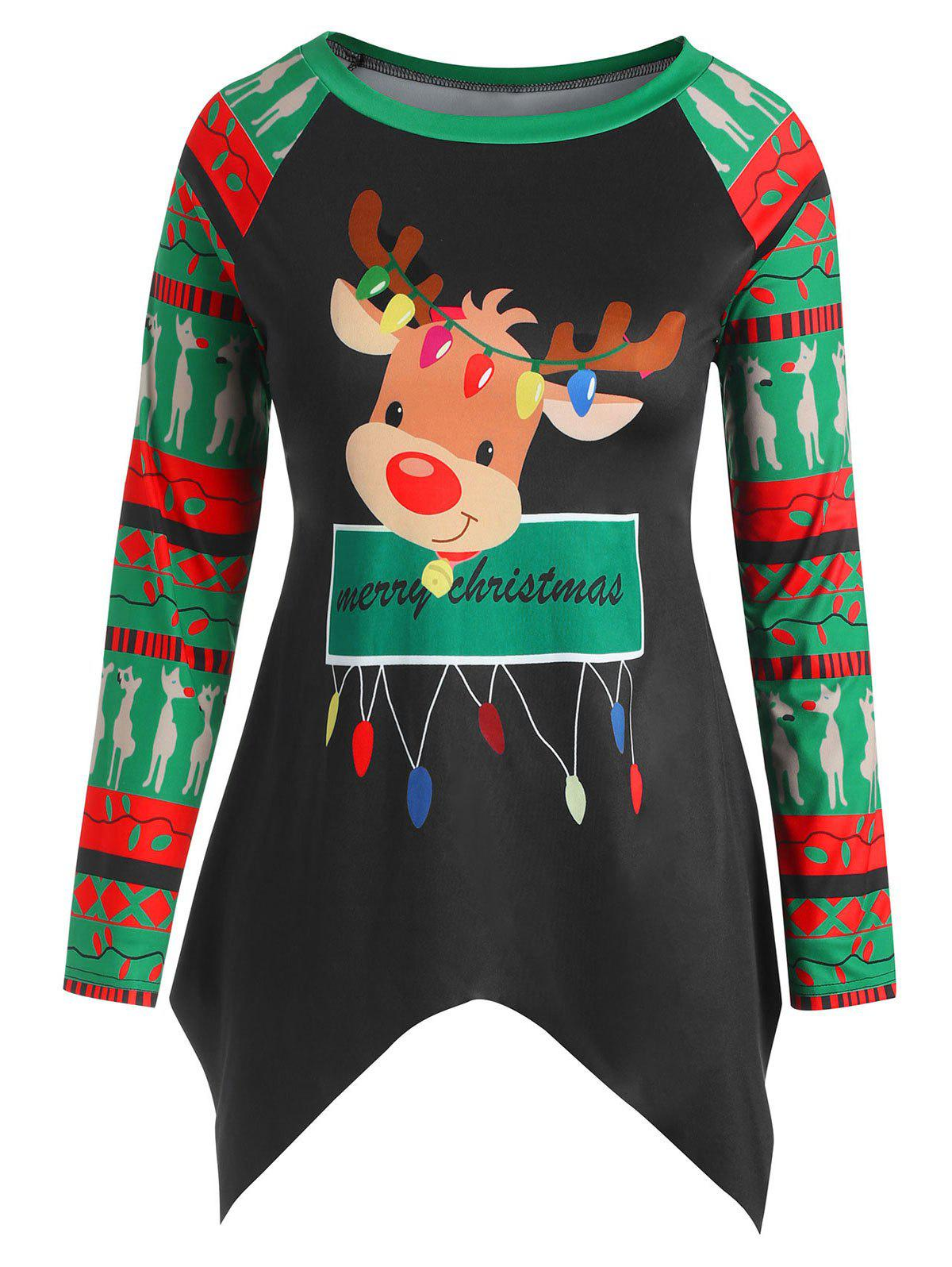 Hot Plus Size Asymmetric Christmas Elk Print Tee