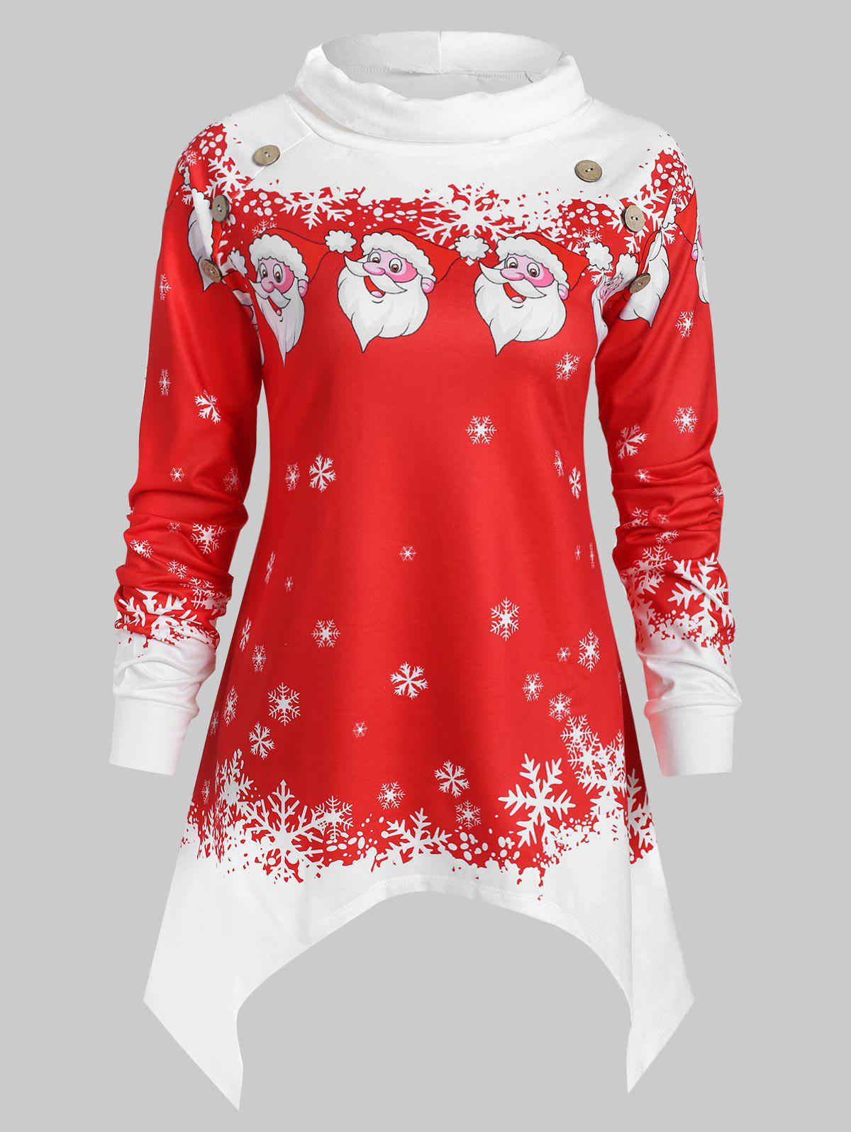 Shop Plus Size Turtleneck Snowflake and Santa Claus Sweatshirt