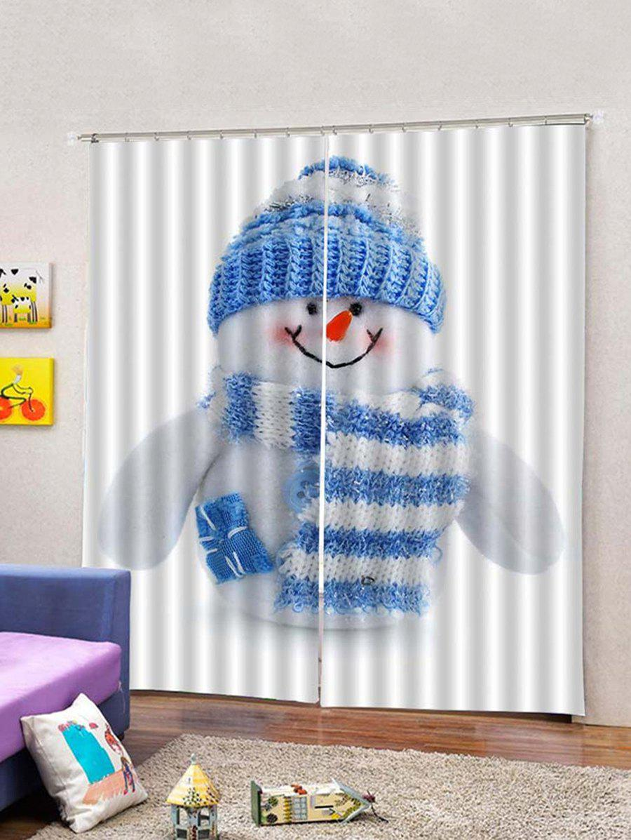 Chic 2Pcs Christmas Capped Snowman Printed Window Curtain