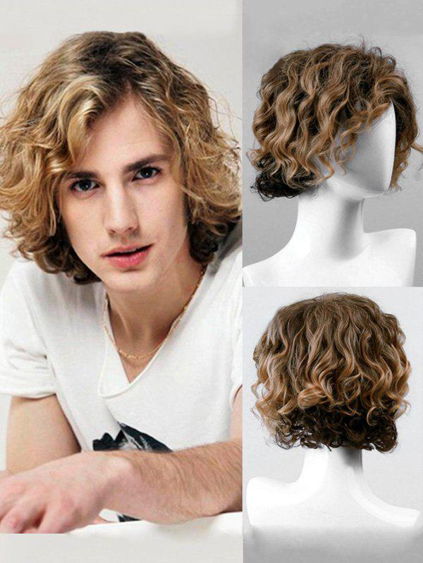 Store Short Side Bang Colormix Wavy Synthetic Men Wig
