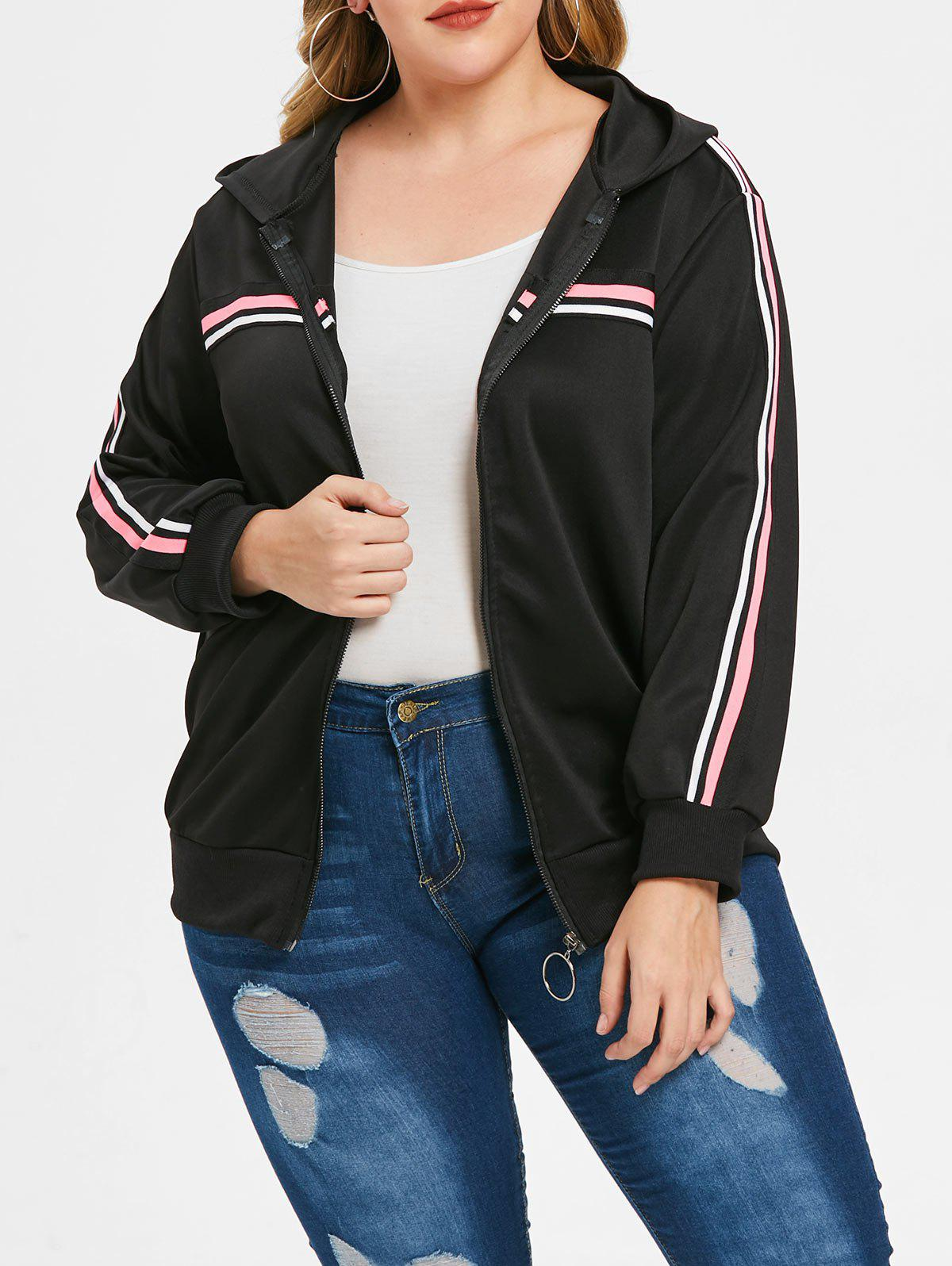 Unique Plus Size Ribbons Zipper Fly Hooded Jacket