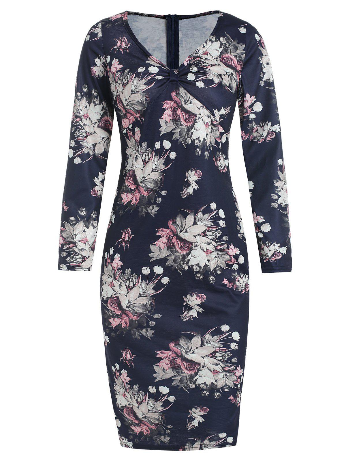 Store Floral Print Knot Bodycon Dress