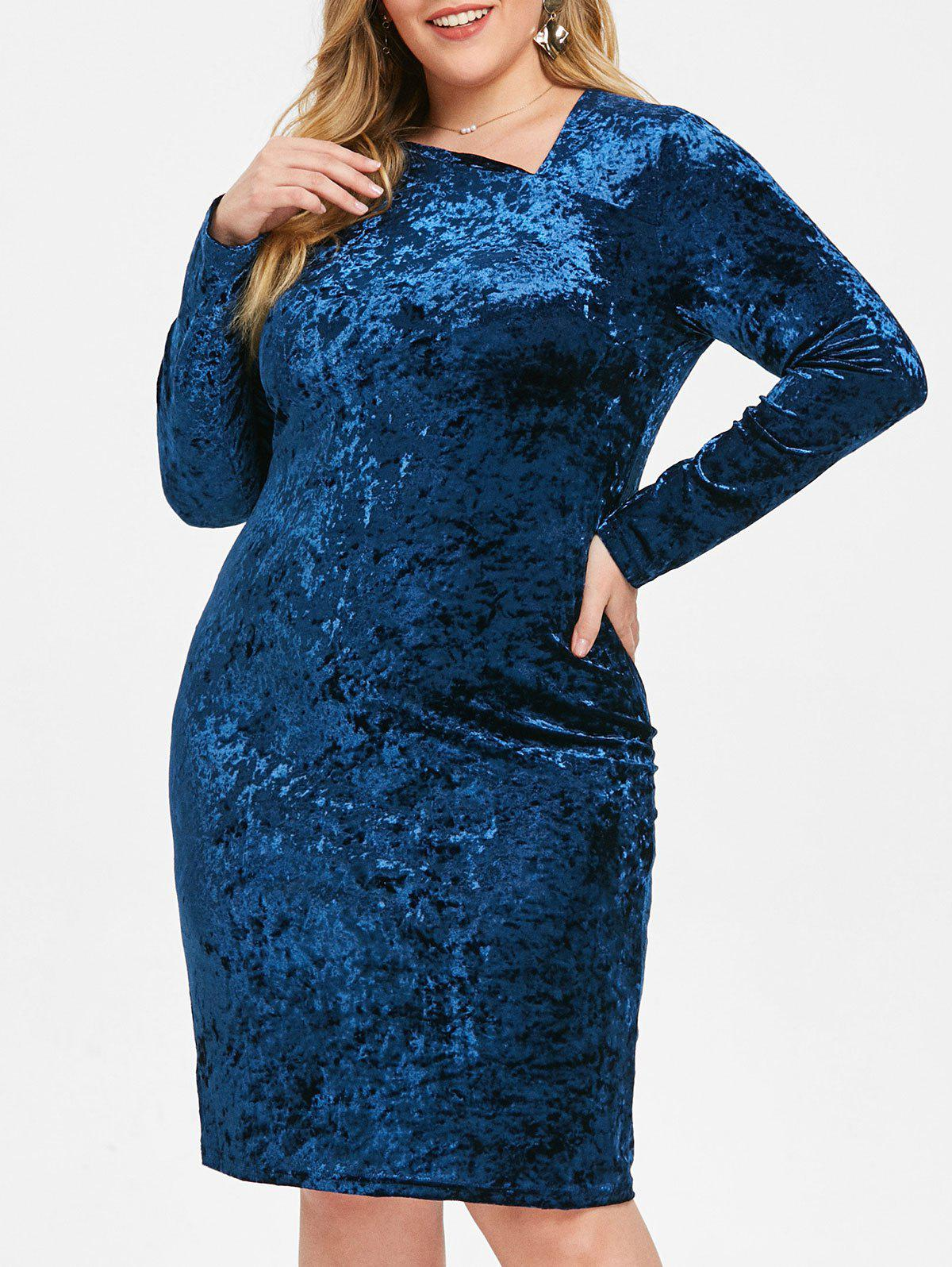Cheap Skew Neck Plus Size Velvet Knee Length Dress