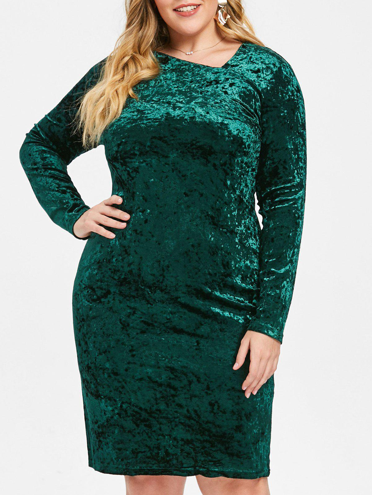Buy Skew Neck Plus Size Velvet Knee Length Dress