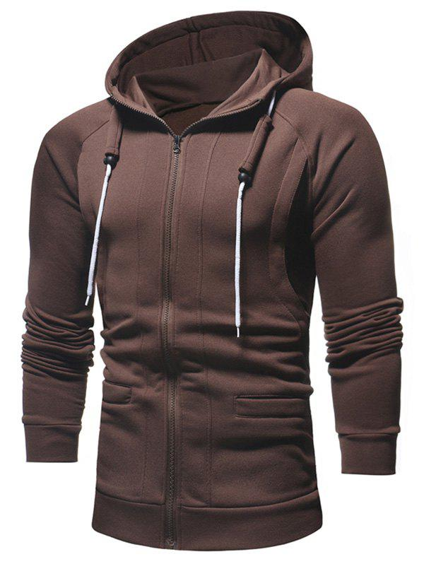 Shop Slimming Zip Fly Drawstring Hoodie