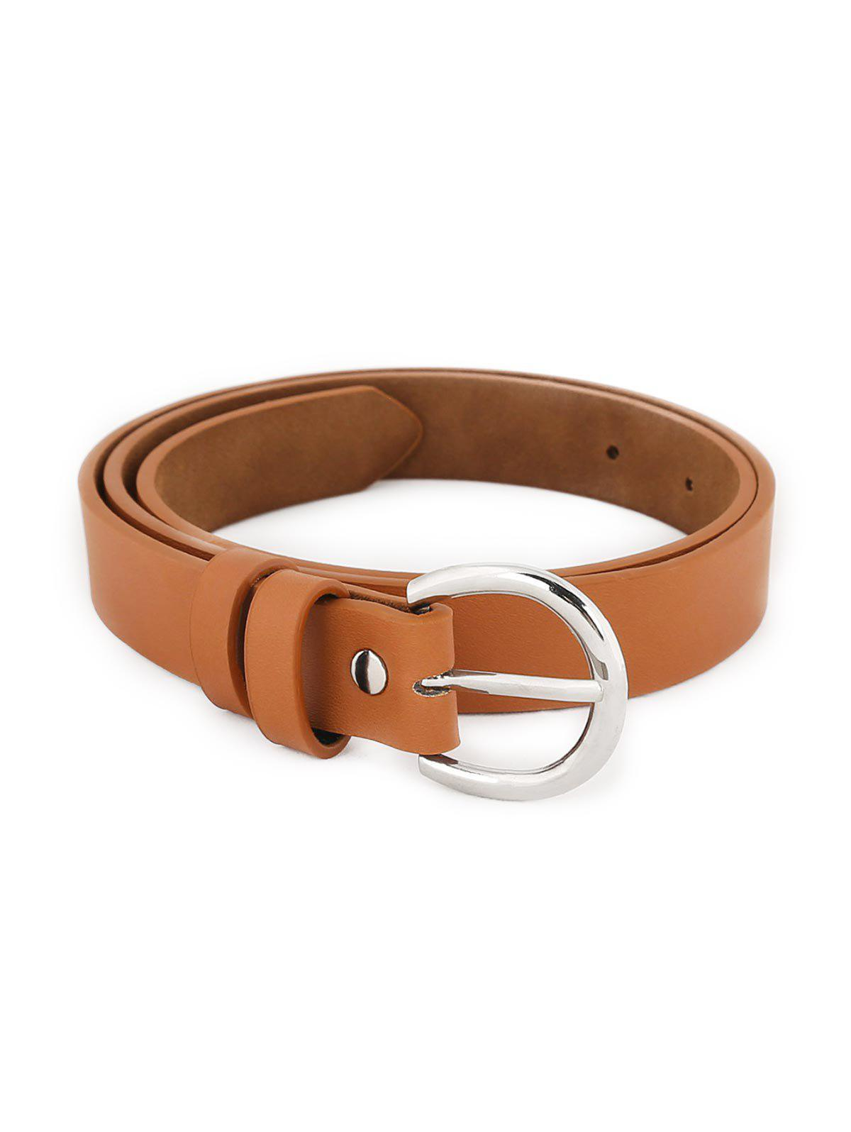 Affordable Simple Silver Metal Buckle Artificial Leather Waist Belt