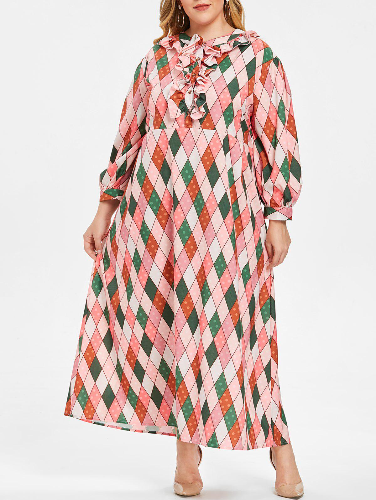 Chic Plus Size Argyle Ruffles Maxi Dress