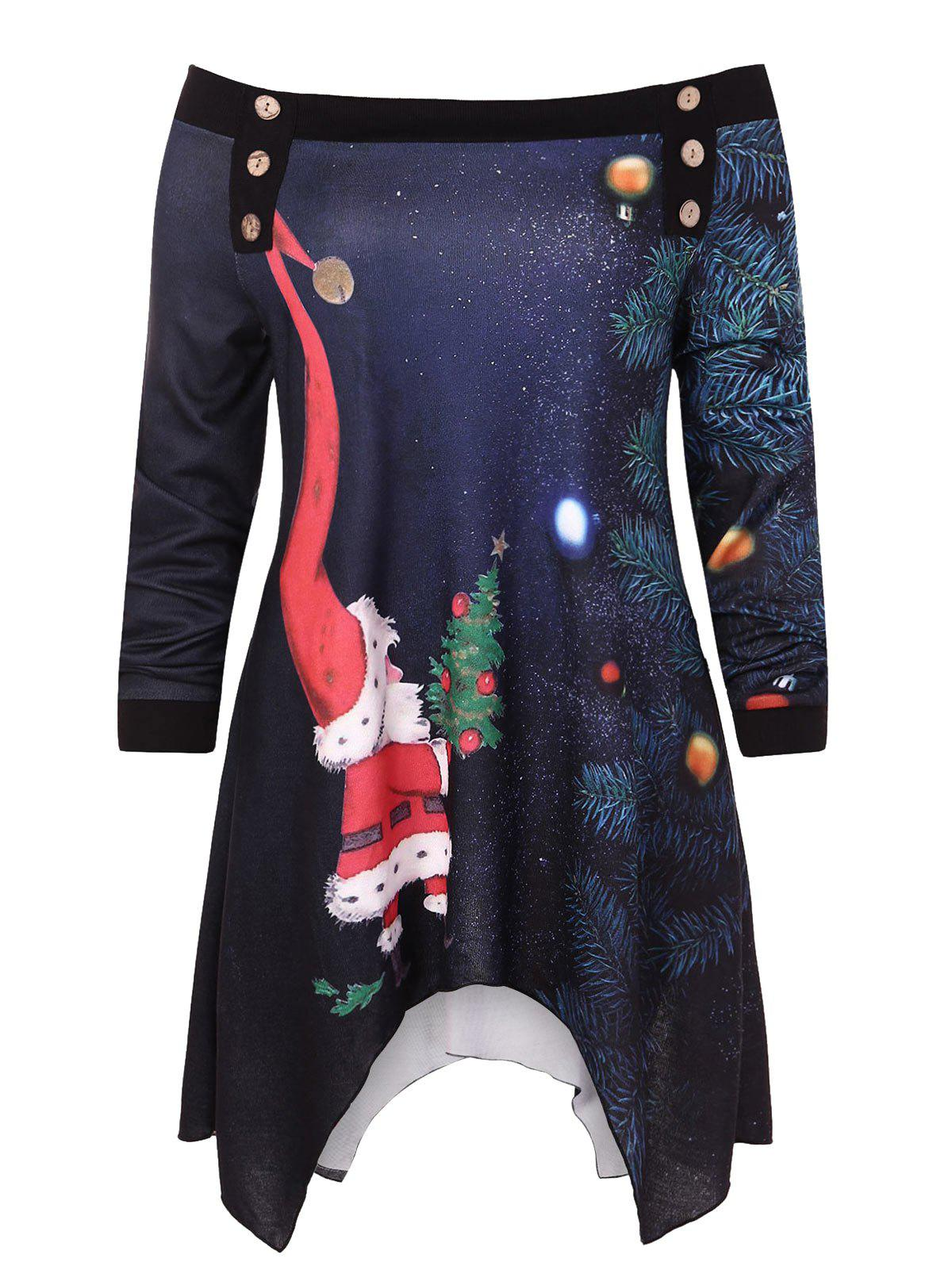 Trendy Plus Size Christmas Print Asymmetric Sweatshirt