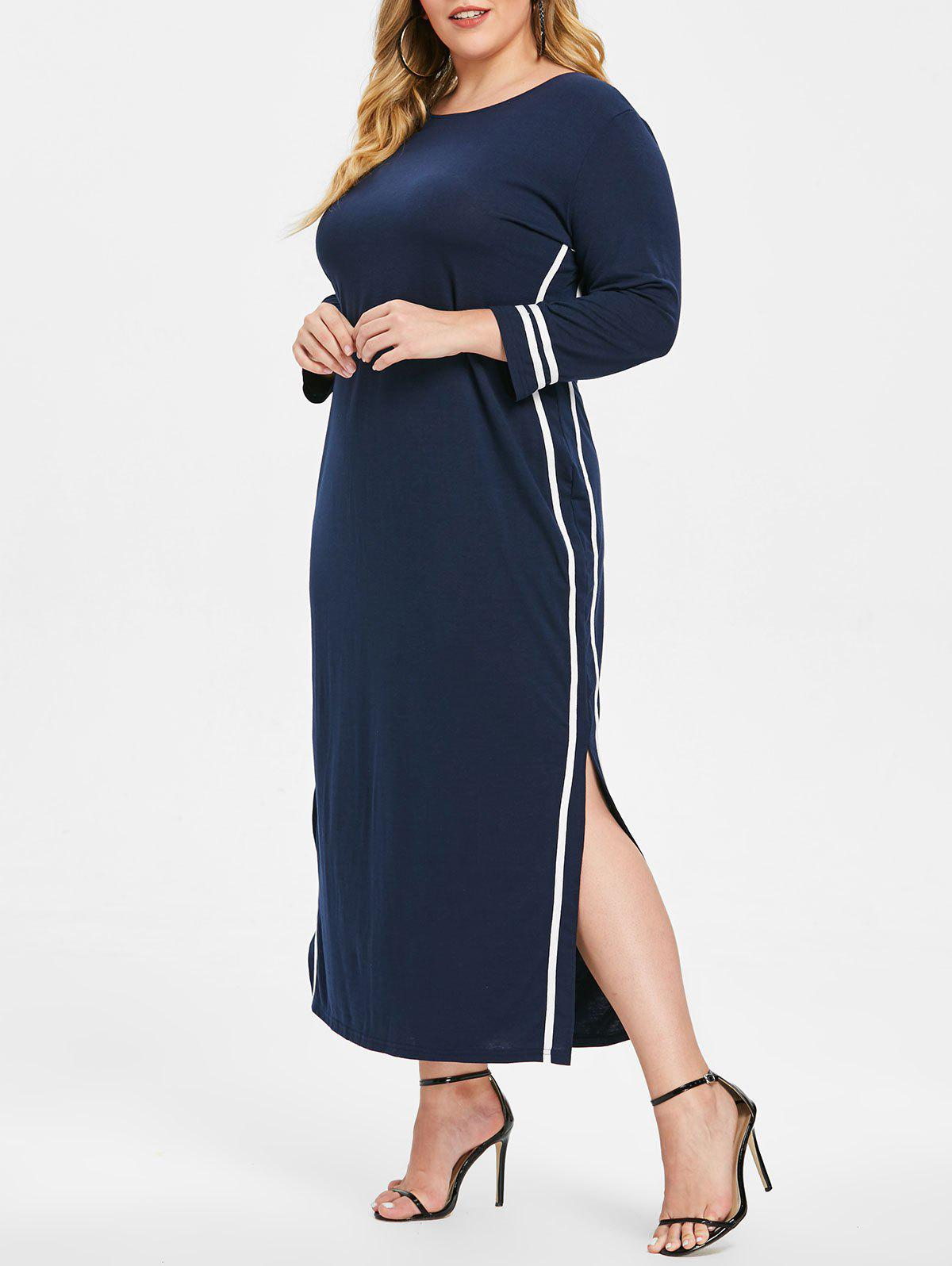 Cheap Side Striped Panel Plus Size Slit Maxi Dress