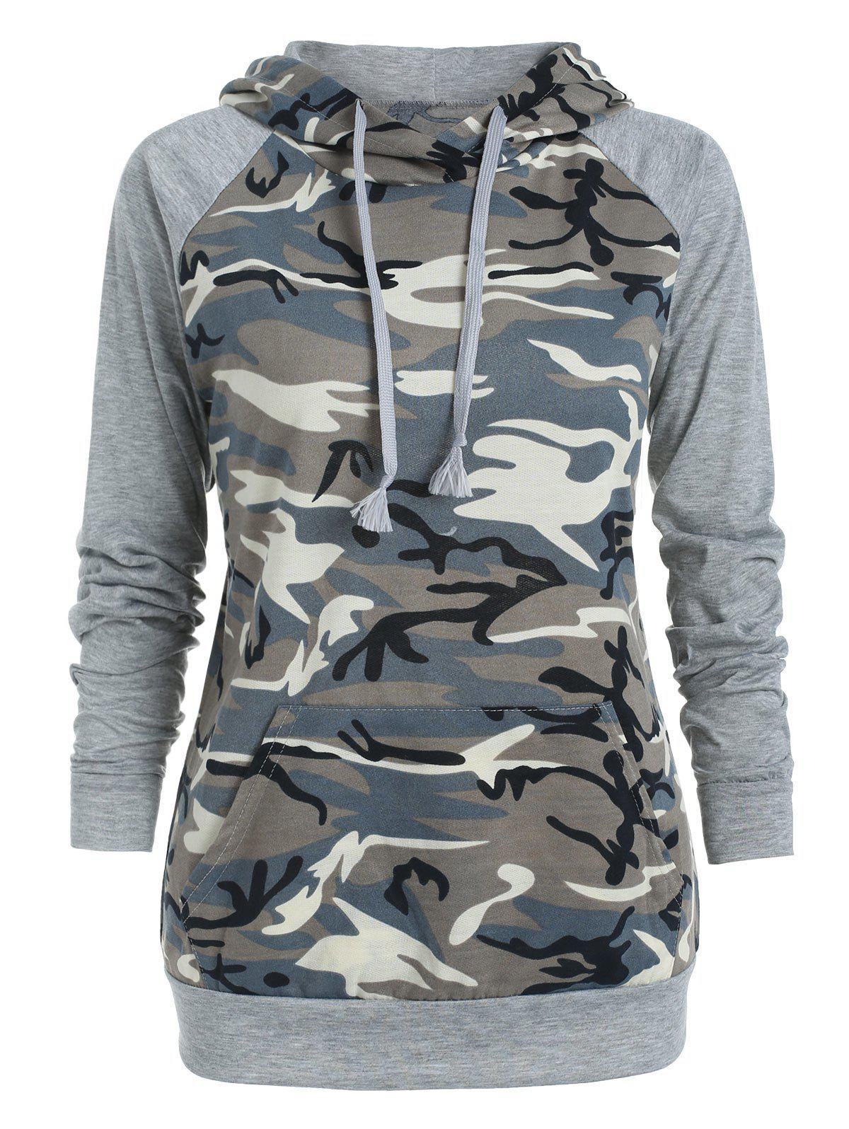 Outfits Camo Print Front Pocket Hoodie