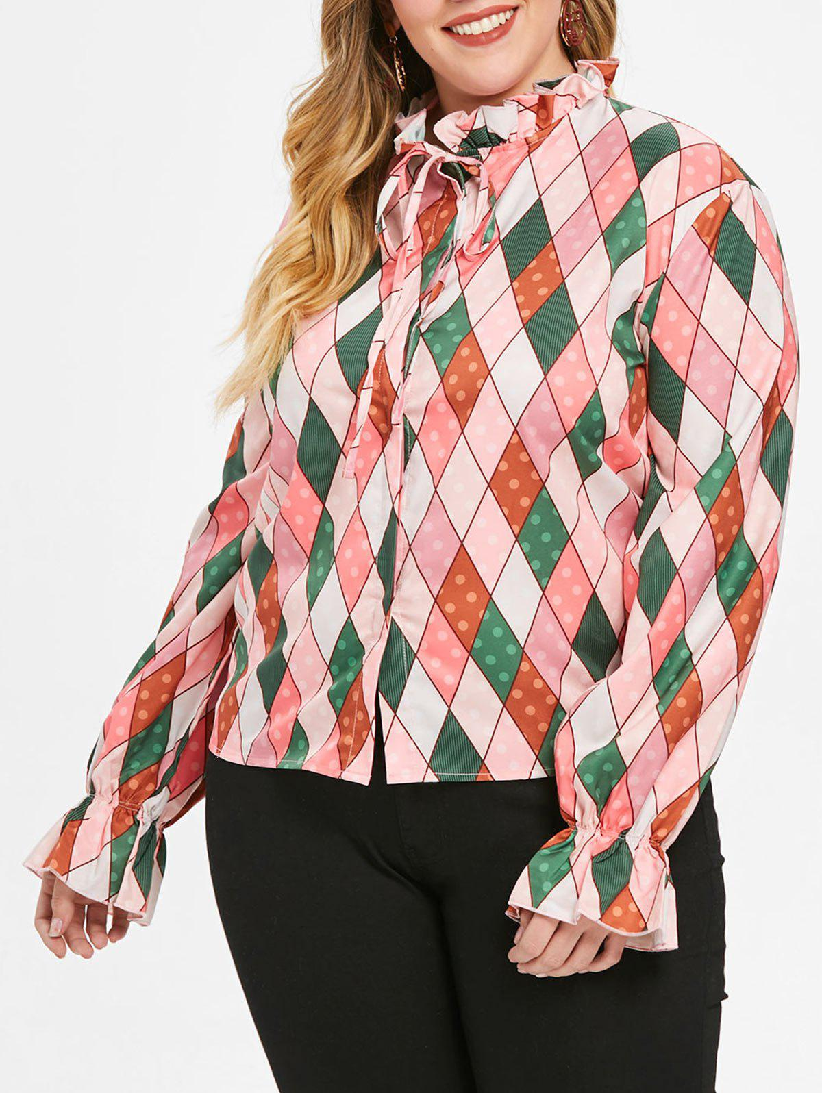 Trendy Plus Size Ruffled Neck Argyle Print Shirt