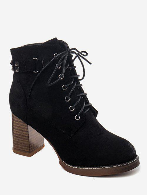 a9f6bc0cc264 2018 Rivet Strap Lacing Heeled Ankle Boots In Black Eu 36