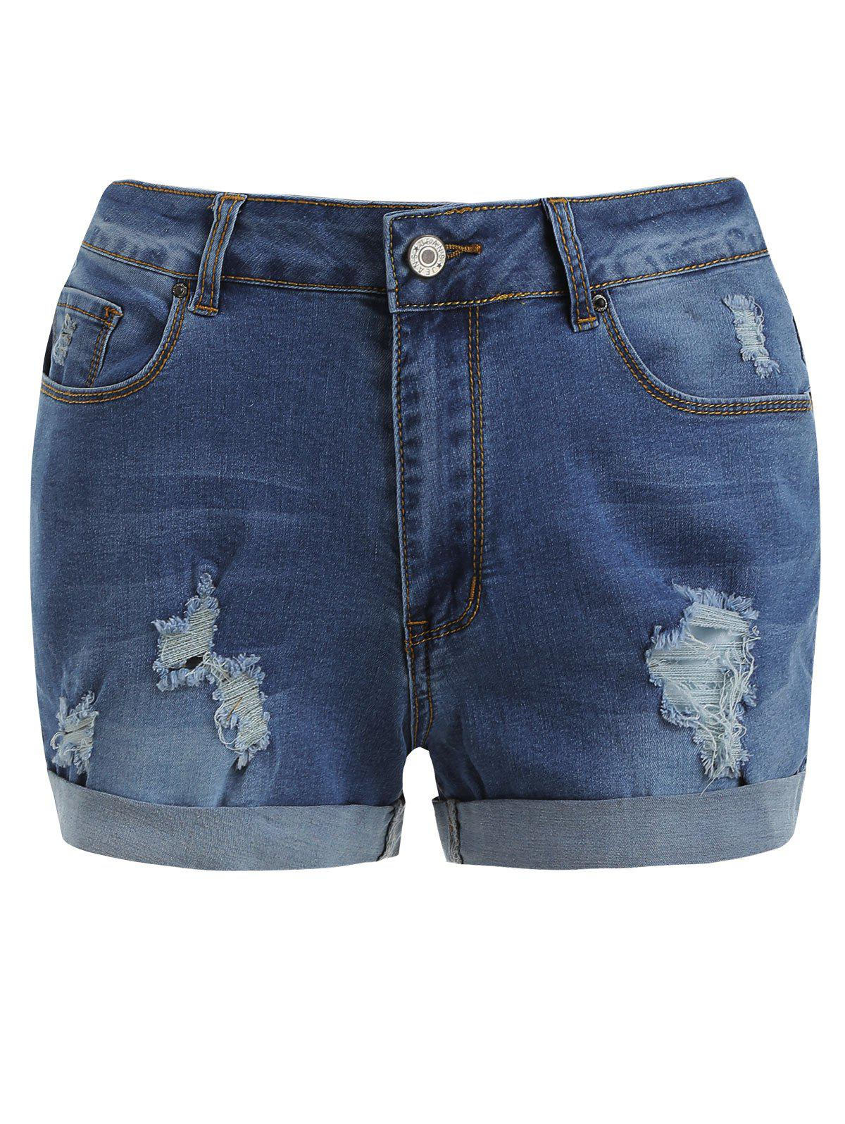Buy Distressed Cuff Denim Shorts