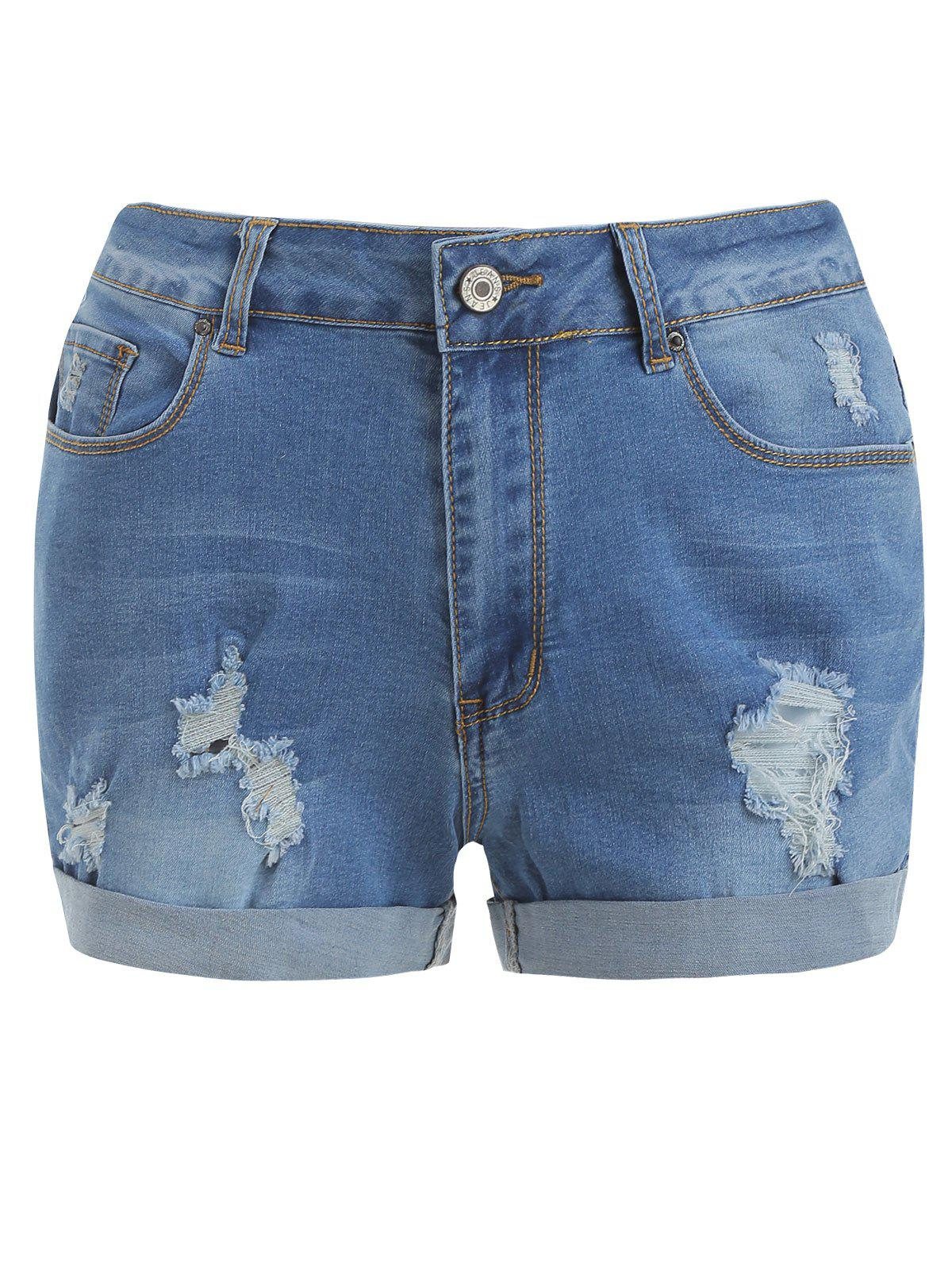 Fashion Distressed Cuff Denim Shorts