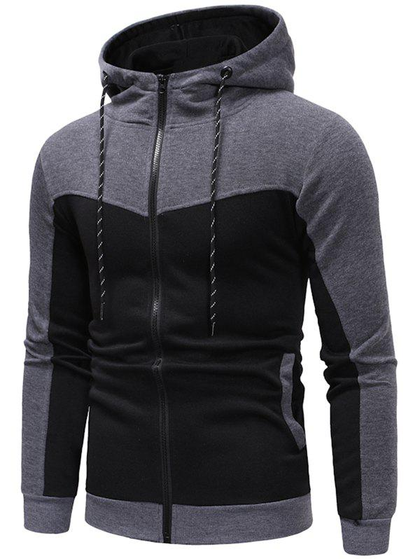 Trendy Hooded Contract Color Drawstring Hoodie