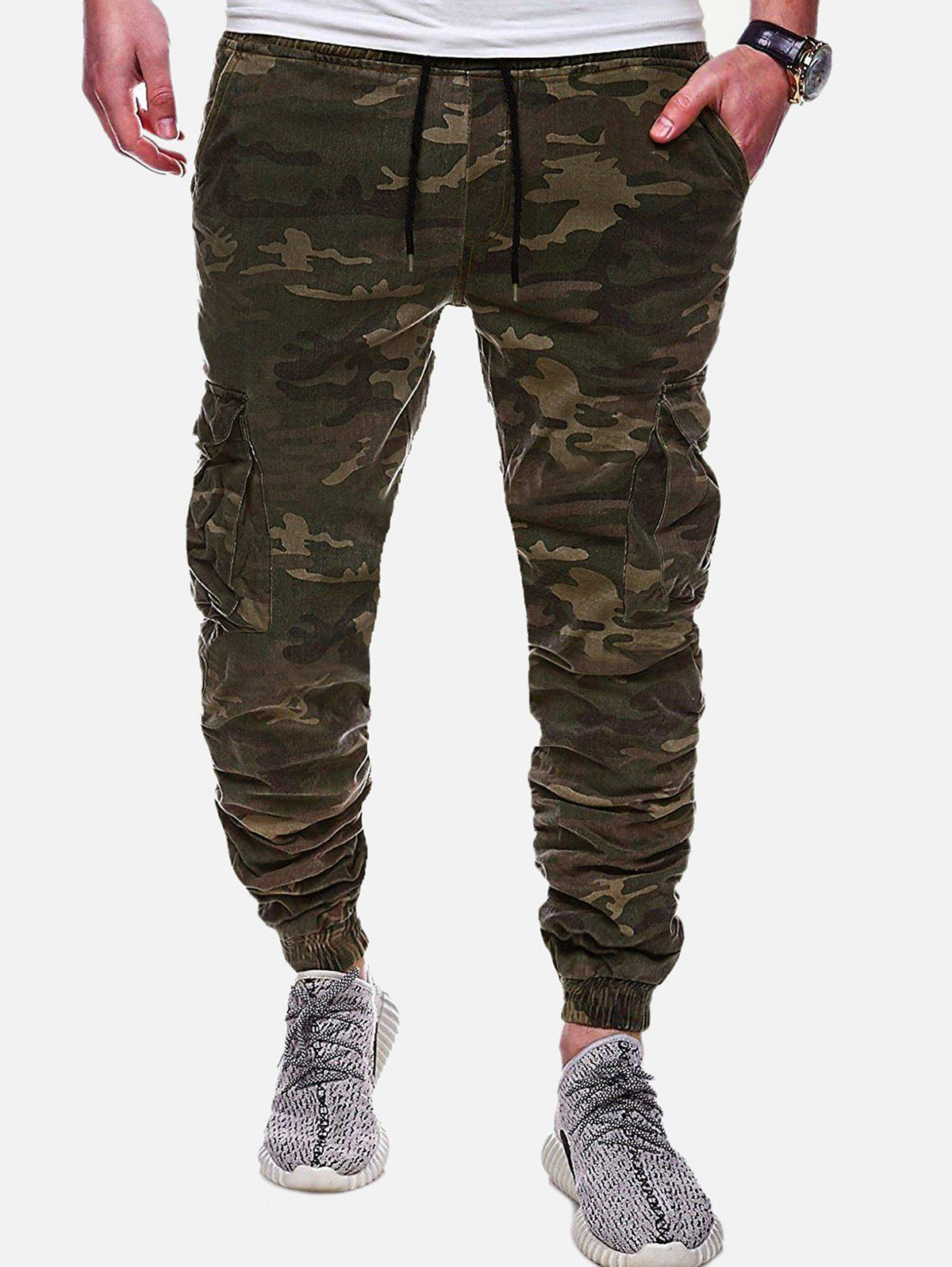 Casual Camouflage Printed Drawstring Jogger Pants, Acu camouflage