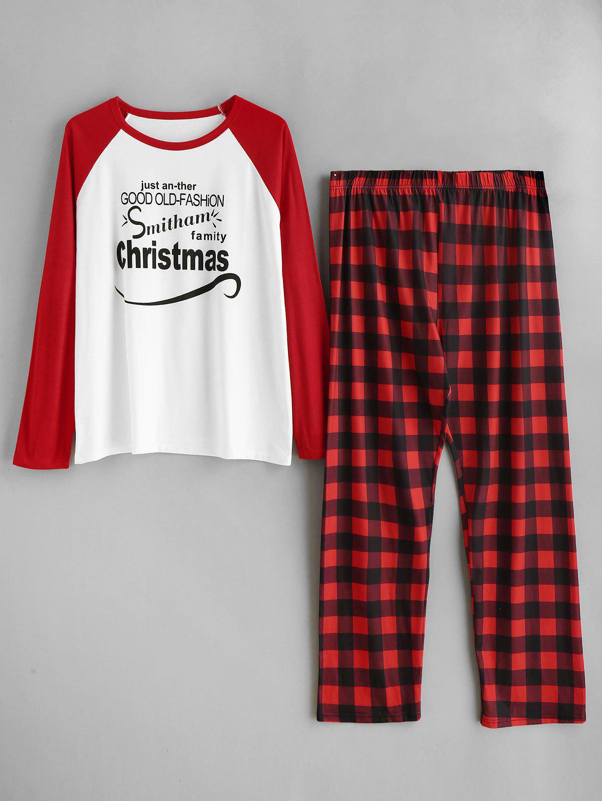 Affordable Plaid Plus Size Christmas Pajamas Set