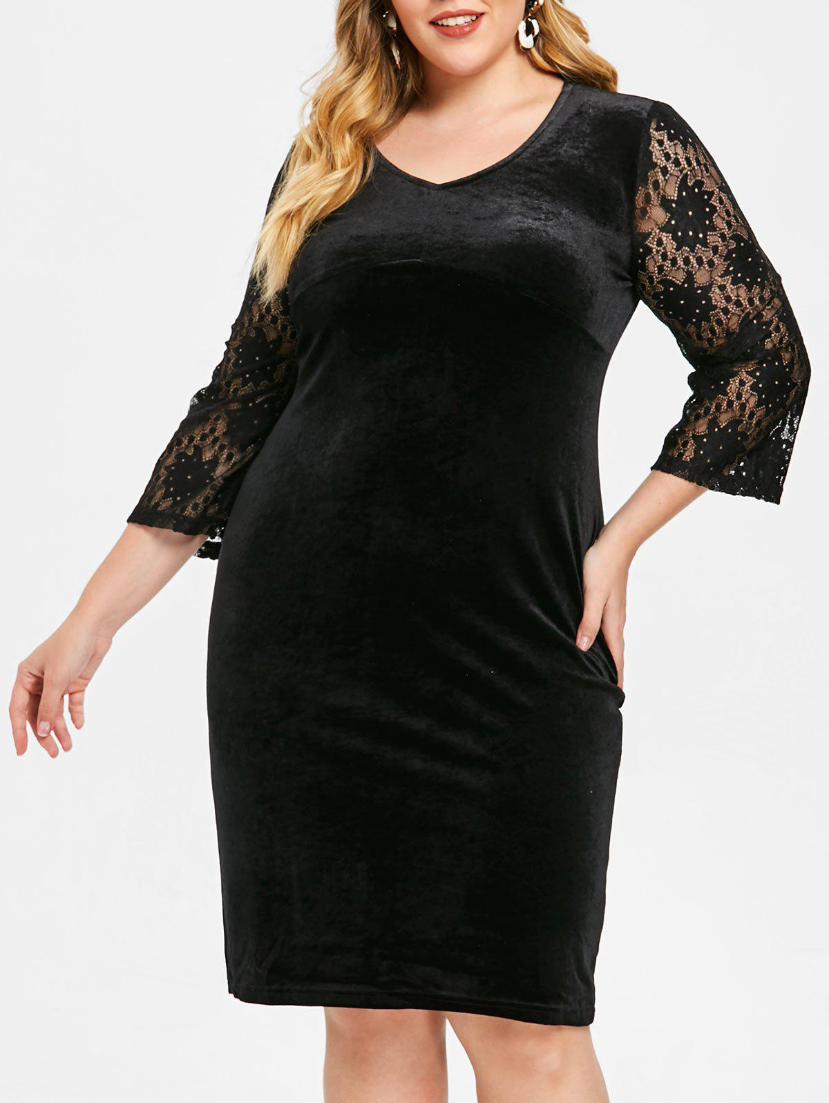 Best V Neck Plus Size Knee Length Velvet Dress
