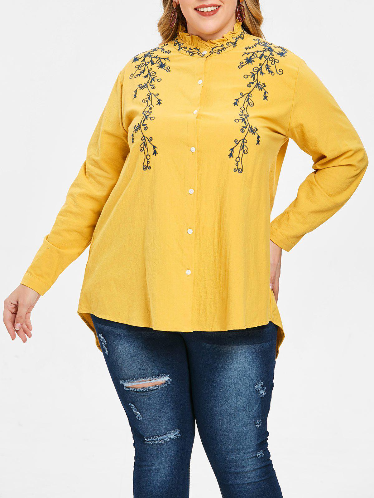 Best Plus Size Asymmetric Floral Embroidered Longline Shirt