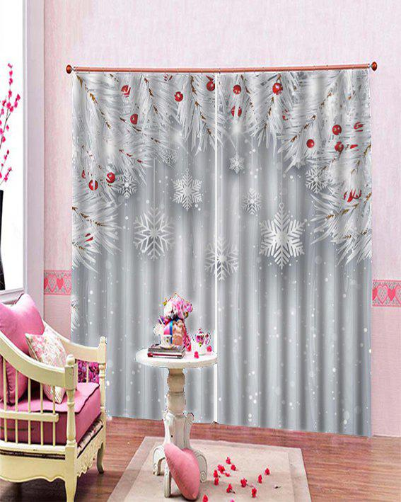 2pcs Christmas Snowflake And Snow Printed Window Curtains W30 X L65 Inch