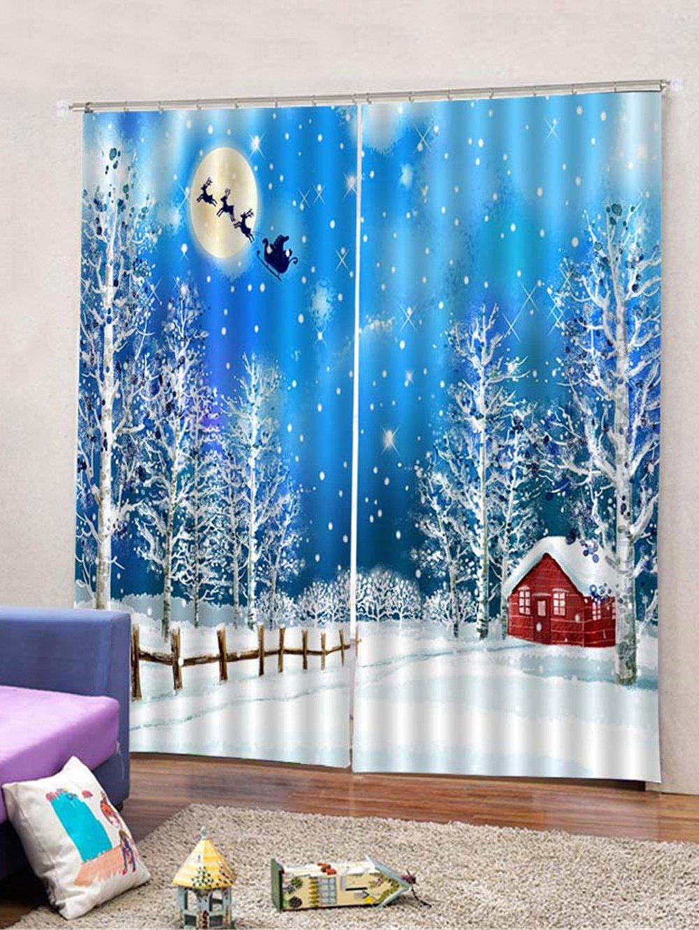 Outfits 2Pcs Christmas Snowy Night View Printed Window Curtains