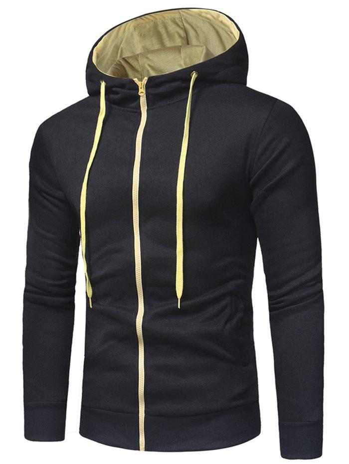 Chic Zipper Color Spliced Slim Fit Hoodie