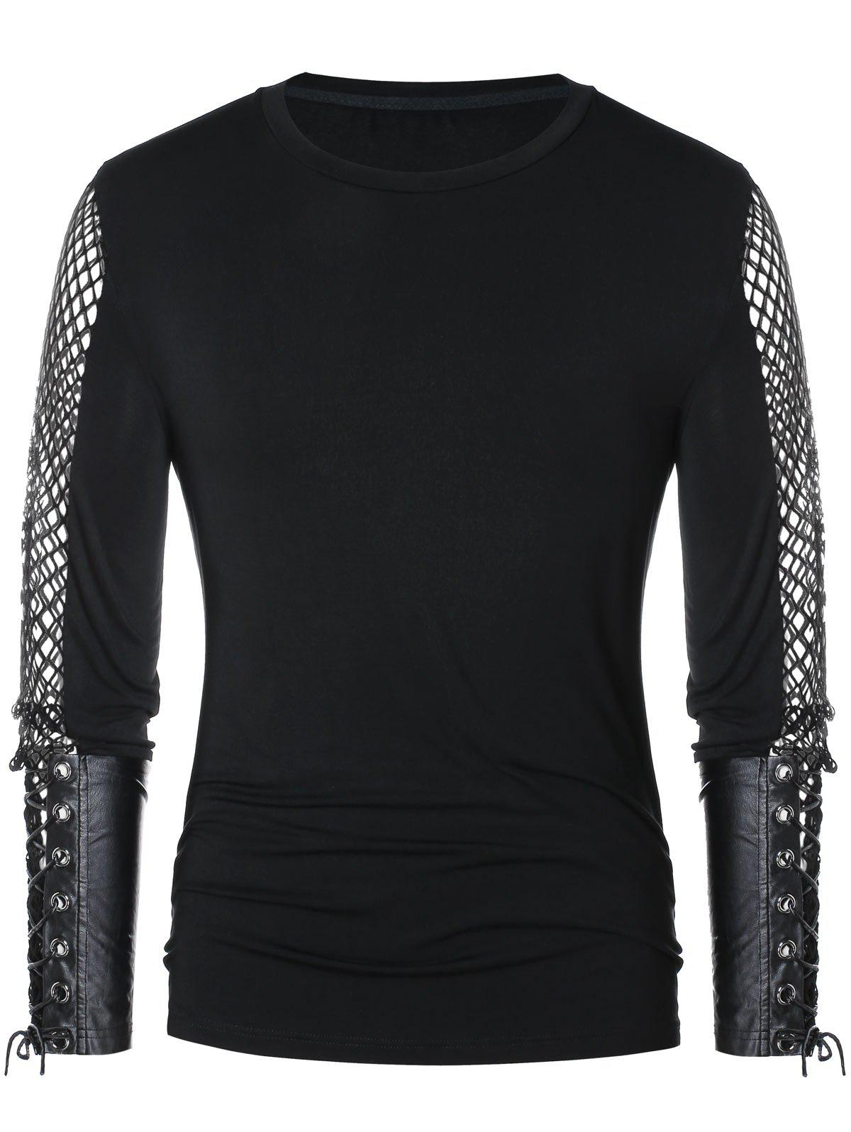 Discount Openwork Lace Up Long Sleeve T-shirt