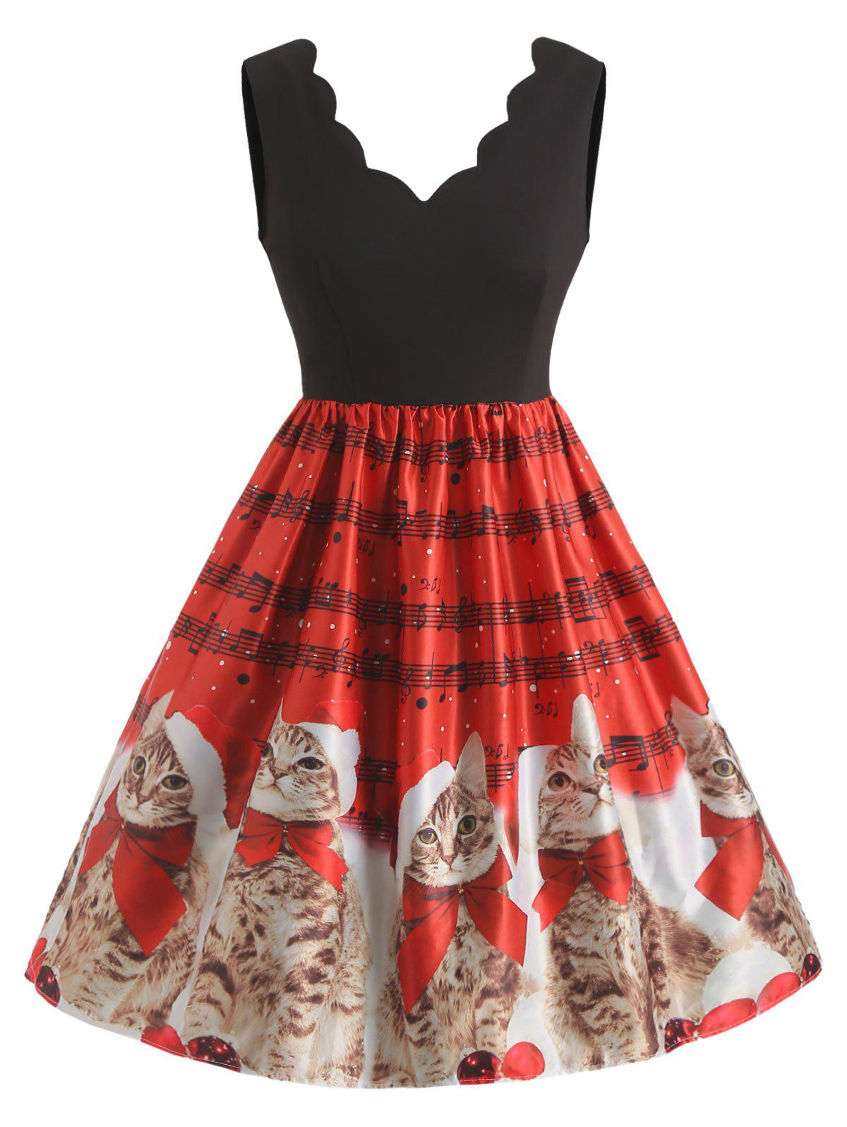 Shops Plus Size Christmas Cat Pattern Flare Dress