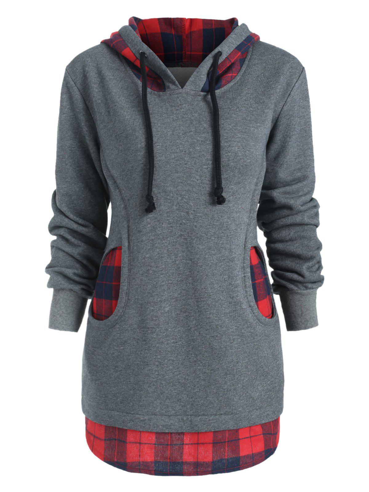 Discount Checkered Two Pockets Terry Hoodie