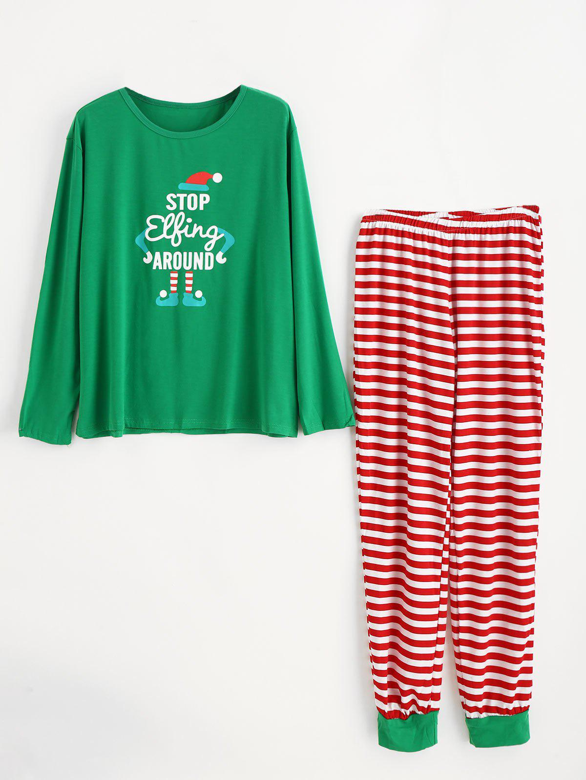 Outfits Christmas Plus Size Striped Pajamas Set