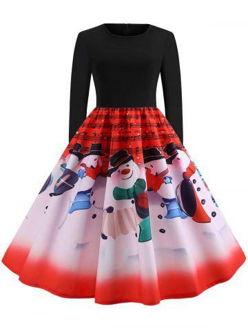 Vintage Snowman Musical Notes Print Christmas Dress