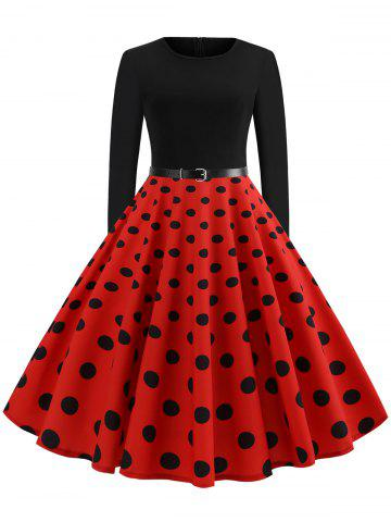 Vintage Polka Dot Knee Length Swing Dress