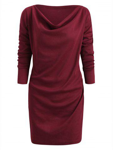 Long Sleeve Cowl Neck Mini Dress